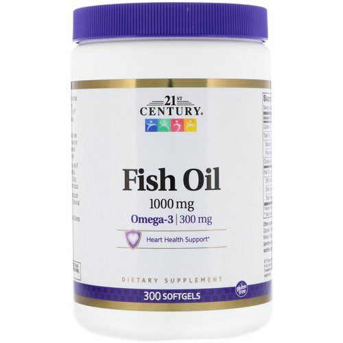 21st Century, Fish Oil, 1,000 mg, 300 Softgels فوائد
