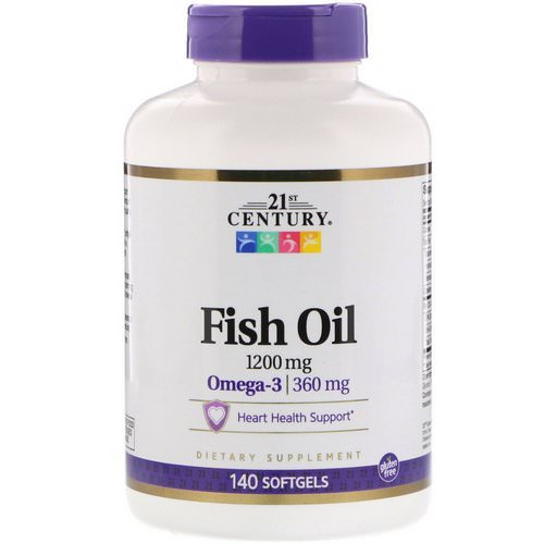 21st Century, Fish Oil, 1,200 mg, 140 Softgels فوائد
