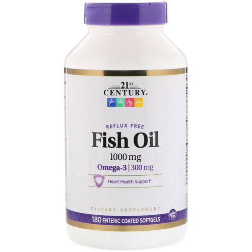 21st Century, Fish Oil Reflux Free, 1000 mg, 180 Enteric Coated Softgels فوائد