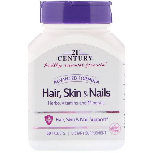 21st Century, Hair, Skin & Nails, Advanced Formula, 50 Tablets فوائد