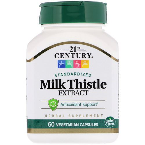 21st Century, Milk Thistle Extract, Standardized, 60 Vegetarian Capsules فوائد