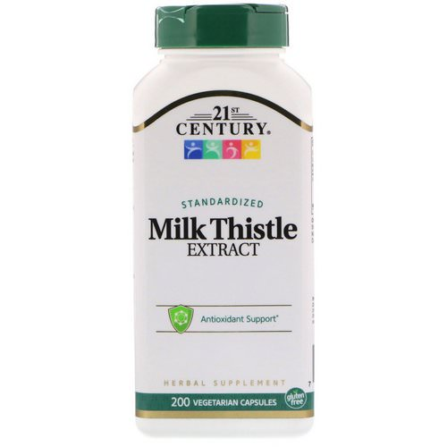 21st Century, Milk Thistle Extract, Standardized, 200 Vegetarian Capsules فوائد