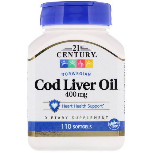 21st Century, Norwegian Cod Liver Oil, 400 mg, 110 Softgels فوائد