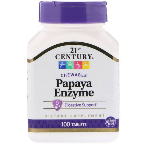 21st Century, Papaya Enzyme, 100 Chewable Tablets فوائد