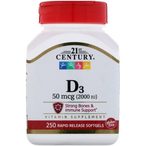 21st Century, Vitamin D3, 2000 IU, 250 Liquid Softgels فوائد