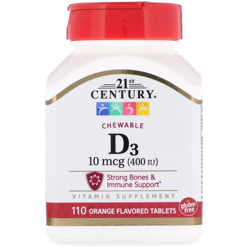 21st Century, Vitamin D3, Chewable, Orange Flavored, 400 IU, 110 Tablets فوائد
