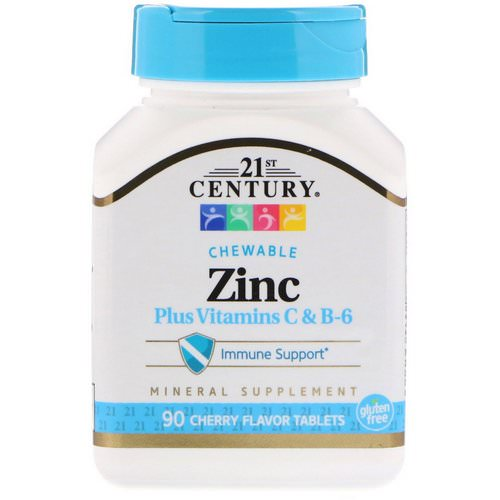 21st Century, Zinc Plus Vitamins C & B-6, Cherry Flavor, 90 Chewable Tablets فوائد