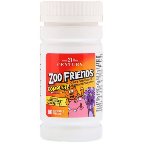 21st Century, Zoo Friends Complete, Children's Multivitamin / Multimineral Supplement, 60 Chewable Tablets فوائد