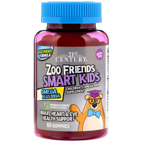 21st Century, Zoo Friends Smart Kids Omega Plus DHA, 60 Gummies فوائد