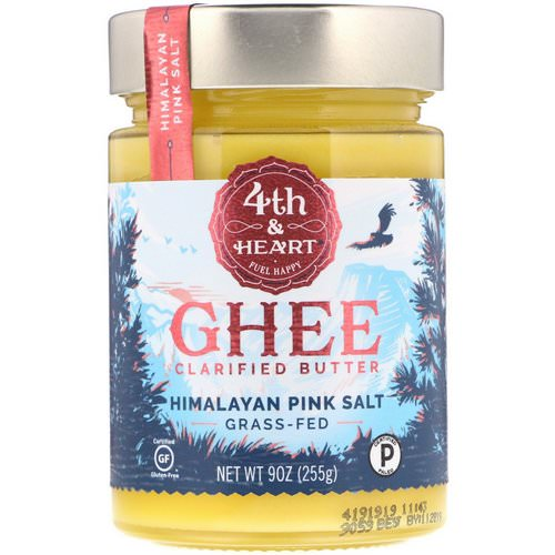 4th & Heart, Ghee Clarified Butter, Grass-Fed, Himalayan Pink Salt, 9 oz (225 g) فوائد