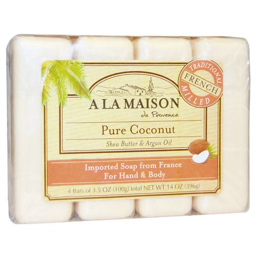 A La Maison de Provence, Hand & Body Bar Soap, Pure Coconut, 4 Bars, 3.5 oz Each فوائد