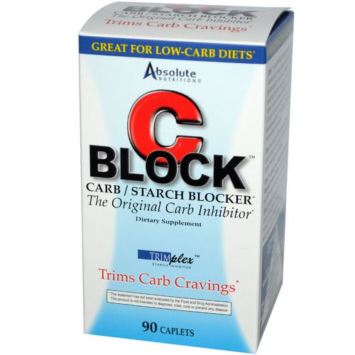 Absolute Nutrition, C Block, Carb / Starch Blocker, 90 Caplets فوائد