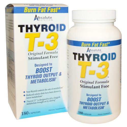 Absolute Nutrition, Thyroid T-3, Original Formula, 180 Capsules فوائد