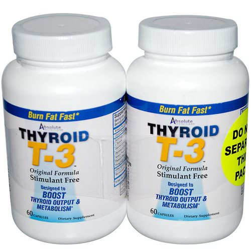 Absolute Nutrition, Thyroid T-3, Original Formula, 2 Bottles, 60 Capsules Each فوائد