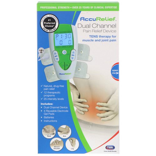 AccuRelief, Dual Channel Pain Relief Device, TENS Therapy for Muscle and Joint Pain, 1 Dual Channel Device & 4 Electrode Gel Pads فوائد