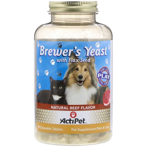 Actipet, Brewer's Yeast with Flax Seed, For Dogs & Cats, Natural Beef Flavor, 90 Chewable Tablets فوائد