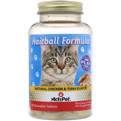 Actipet, Hairball Formula, Natural Chicken & Tuna Flavor, 60 Chewable Tablets فوائد