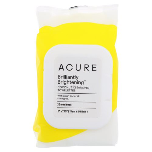 Acure, Brilliantly Brightening, Coconut Cleansing Towelettes, 30 Towelettes فوائد