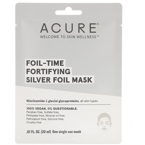 Acure, Foil-Time Fortifying Silver Foil Mask, 1 Single Use Mask, 0.67 fl oz (20 ml) فوائد