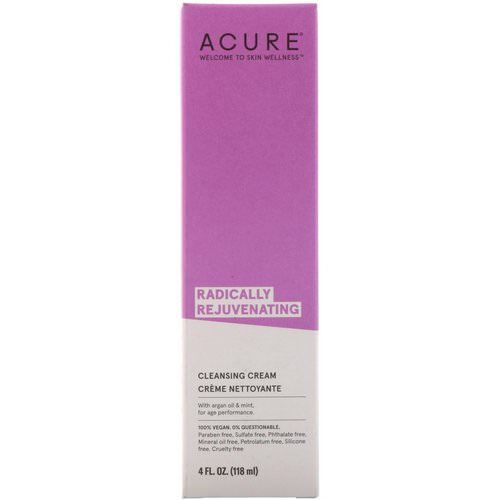 Acure, Radically Rejuvenating, Cleansing Cream, 4 fl oz (118 ml) فوائد
