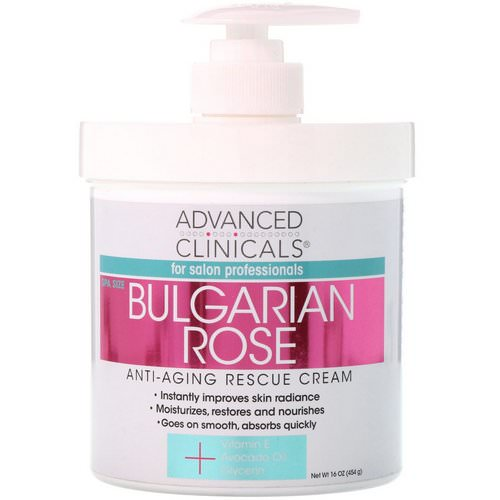 Advanced Clinicals, Anti-Aging Rescue Cream, Bulgarian Rose, 16 oz (454 g) فوائد