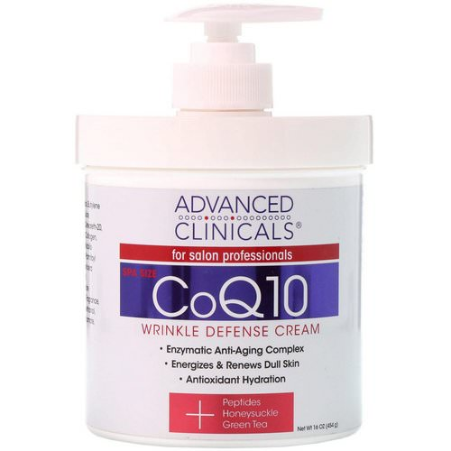 Advanced Clinicals, CoQ10, Wrinkle Defense Cream, 16 oz (454 g) فوائد