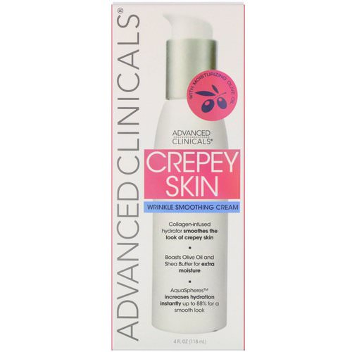 Advanced Clinicals, Crepey Skin, Wrinkle Smoothing Cream, 4 fl oz (118 ml) فوائد