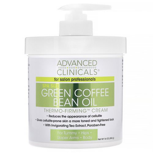 Advanced Clinicals, Green Coffee Bean Oil, Thermo-Firming Cream, 16 oz (454 g) فوائد