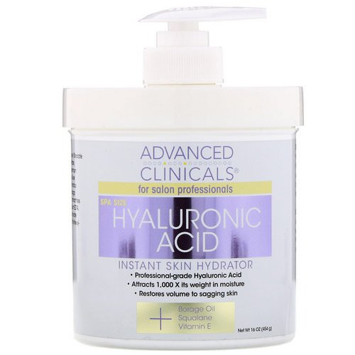 Advanced Clinicals, Hyaluronic Acid, Instant Skin Hydrator, 16 oz (454 g) فوائد