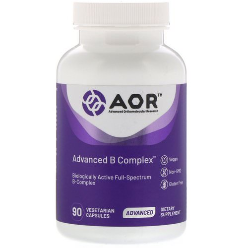 Advanced Orthomolecular Research AOR, Advanced B Complex, 90 Vegetarian Capsules فوائد