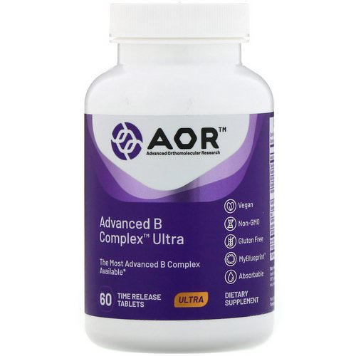 Advanced Orthomolecular Research AOR, Advanced B Complex Ultra, 60 Time Release Tablets فوائد