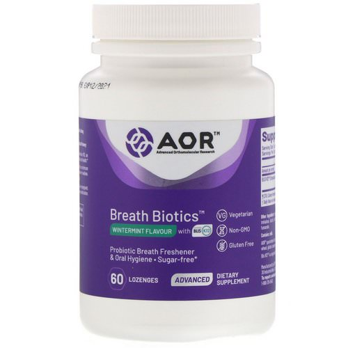Advanced Orthomolecular Research AOR, Breath Biotics, Wintermint Flavor with Blis K12, 60 Lozenges فوائد