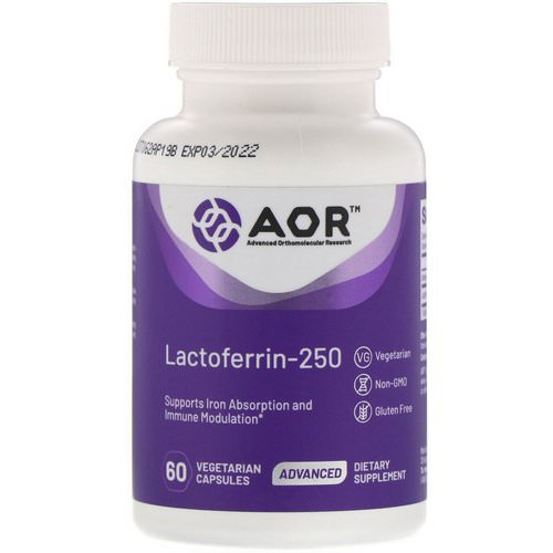 Advanced Orthomolecular Research AOR, Lactoferrin-250, 60 Vegetarian Capsules فوائد