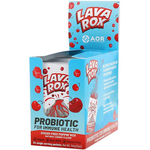 Advanced Orthomolecular Research AOR, Lava Rox, Probiotic for Immune Health, Natural Cherry Flavor, 24 Packets, .2 oz (6 g) Each فوائد