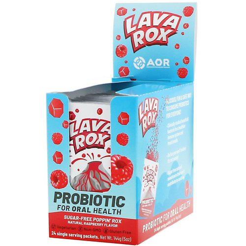 Advanced Orthomolecular Research AOR, Lava Rox, Probiotic for Oral Health, Natural Raspberry Flavor, 24 Packets, .2 oz (6 g) Each فوائد