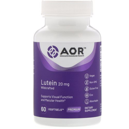 Advanced Orthomolecular Research AOR, Lutein, 20 mg, 60 VSoftgels فوائد