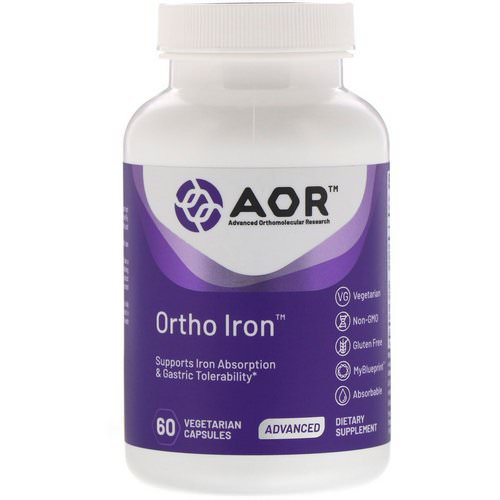 Advanced Orthomolecular Research AOR, Ortho Iron, 60 Vegetarian Capsules فوائد