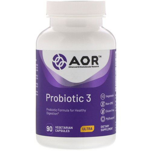 Advanced Orthomolecular Research AOR, Probiotic 3, 90 Vegetarian Capsules فوائد