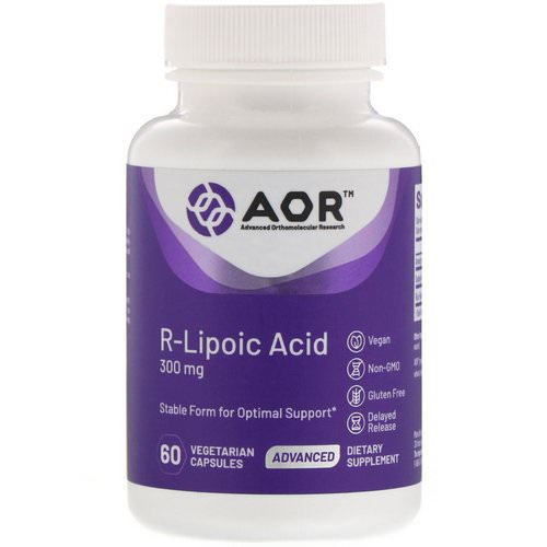 Advanced Orthomolecular Research AOR, R-Lipoic Acid, 300 mg, 60 Vegetarian Capsules فوائد
