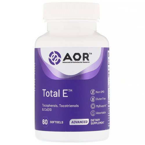 Advanced Orthomolecular Research AOR, Total E, 60 Softgels فوائد