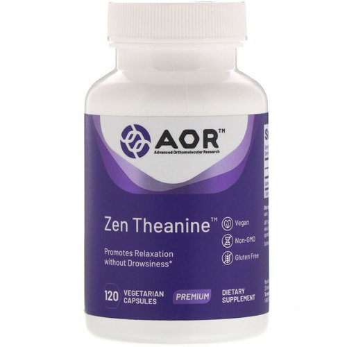 Advanced Orthomolecular Research AOR, Zen Theanine, 120 Vegetarian Capsules فوائد