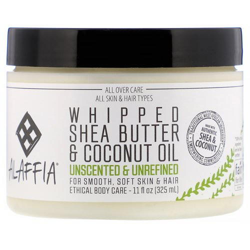 Alaffia, Whipped Shea Butter & Coconut Oil, Unscented & Unrefined, 11 fl oz (325 ml) فوائد