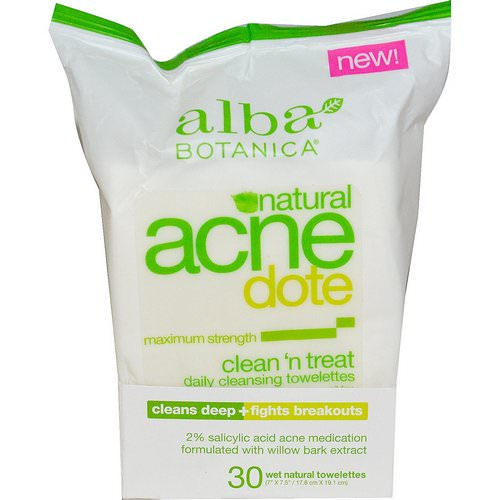 Alba Botanica, Acne Dote, Daily Cleansing Towelettes, Oil Free, 30 Wet Towelettes فوائد