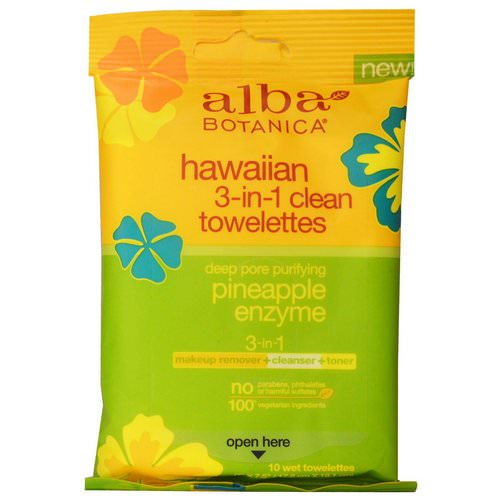 Alba Botanica, Hawaiian 3-in-1 Clean Towelettes, Pineapple Enzyme, 10 Wet Towelettes فوائد