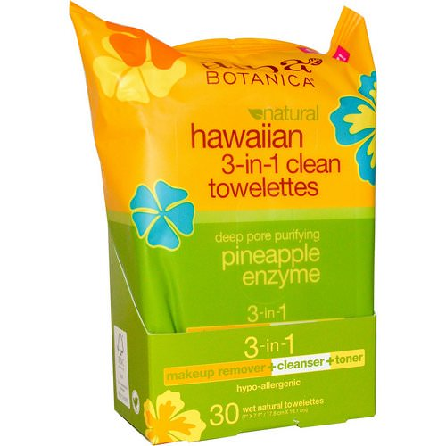 Alba Botanica, Natural Hawaiian 3-in-1 Clean Towelettes, Pineapple Enzyme, 30 Wet Towelettes فوائد