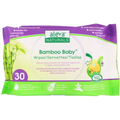 Aleva Naturals, Bamboo Baby Wipes, 30 Wipes فوائد