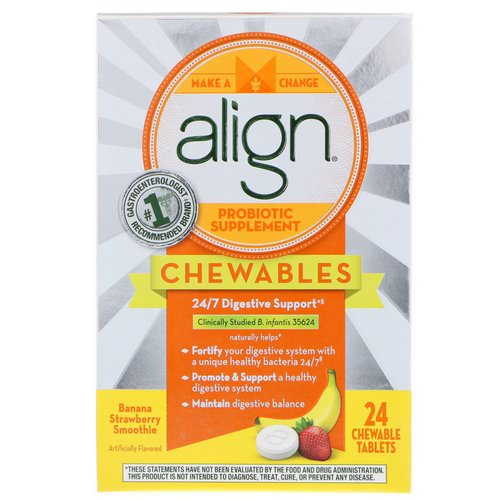 Align Probiotics, 24/7 Digestive Support, Probiotic Supplement, Chewables, Banana Strawberry Smoothie, 24 Chewable Tablets فوائد