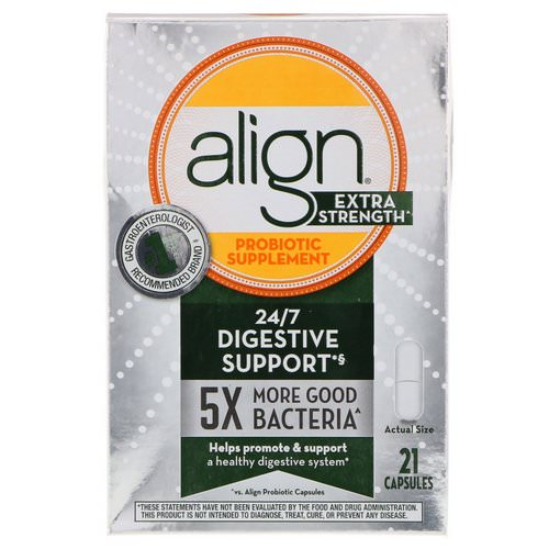 Align Probiotics, 24/7 Digestive Support, Probiotic Supplement, Extra Strength, 21 Capsules فوائد
