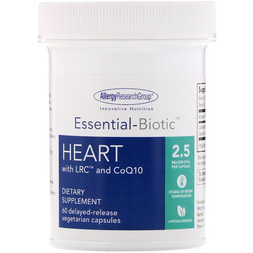 Allergy Research Group, Essential-Biotic, Heart with LRC and CoQ10, 2.5 Billion CFU, 60 Delayed-Release Vegetarian Capsules فوائد