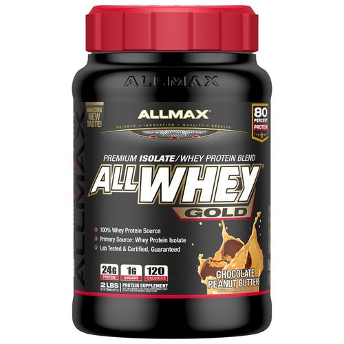 ALLMAX Nutrition, AllWhey Gold, 100% Whey Protein + Premium Whey Protein Isolate, Chocolate Peanut Butter, 2 lbs (907 g) فوائد